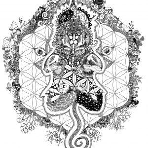 Cosmic Monkey Ink 297x420mm