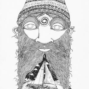 Moonjava Cosmic Sailor Ink on paper 148x210mm 2019