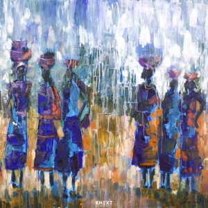 Gatherers in Blue Oil on Canvas 1020x760mm