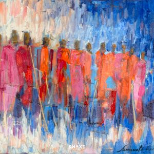 Maasai Gathering Oil on Canvas 560x460mm