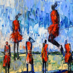 Viglietti The Maasai Challenge Oil on canvas 1020x1270mm 2019